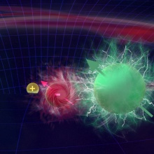An artist view on the atomic-scale particle collider. A Rydberg electron (red) bound in the Coulomb potential of its core ion (yellow) frequently scatters with a ground-state Rubidium atom (green) at meV energies. During the scattering process a quasi-bound negative ion forms, whose spin-dependent energy levels are obtained in this work via precise Rydberg spectroscopy. An artist view on the atomic-scale particle collider. A Rydberg electron (red) bound in the Coulomb potential of its core ion (yellow) frequently scatters with a ground-state Rubidium atom (green) at meV energies. During the scattering process a quasi-bound negative ion forms, whose spin-dependent energy levels are obtained in this work via precise Rydberg spectroscopy.