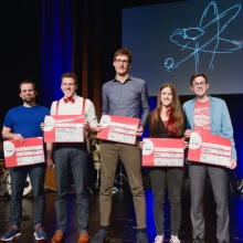 The five slammers at the 3rd IQST Q-Science Slams 2020 on February 25 in the Theaterhaus Stuttgart